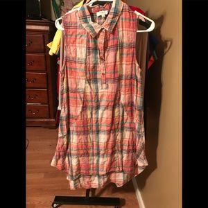 Umgee Women's Sleeveless plaid dress size medium
